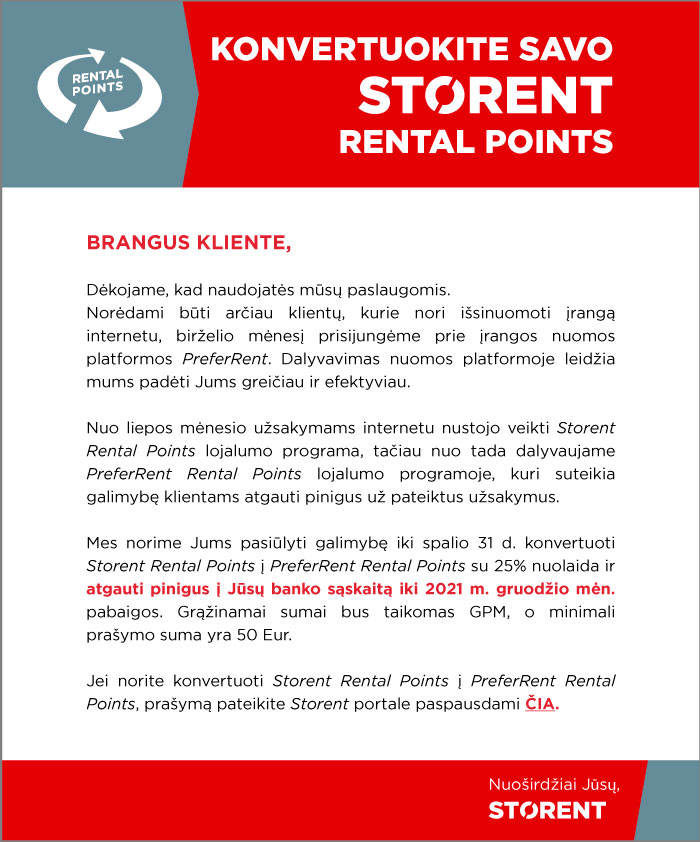 Covert your STORENT Rental Points