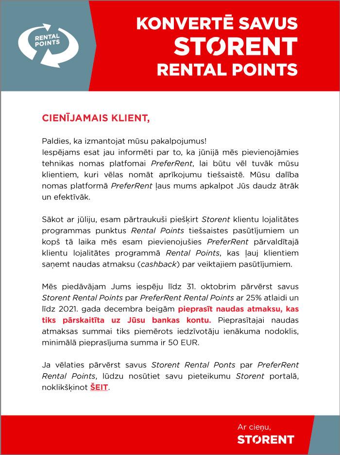 Convert your STORENT Rental Points
