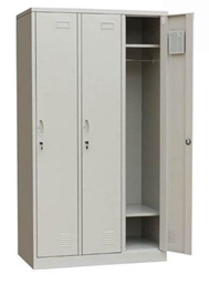 Metāla garderobes skapis, 3 durvis, sols