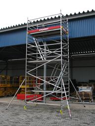 Aluminium access tower BoSS, narrow, 0.85m x 2.5m, H=8.2m(platform)