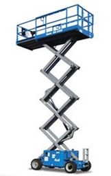 Rough-terrain scissor lift (diesel, 4 WD), 10m