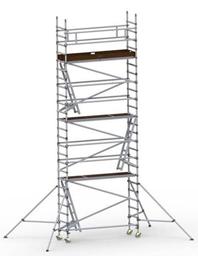 Byggställning aluminium 0.75m x 2.5m, H=7.0m (plattform)