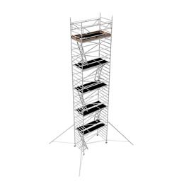 Byggställning aluminium bred 1.30m x 2.5m, H=10.0m (plattform)