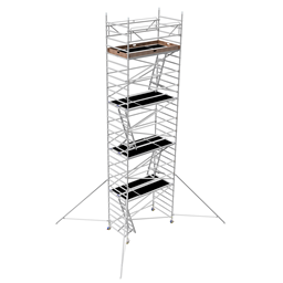 Byggställning aluminium bred 1.30m x 2.5m, H=8.0m (plattform)