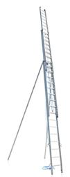 Alumīnija virves darbināmas kāpnes ar 3 daļu, ar papildu drošības stabilizatoriem, maks. h-12,24m