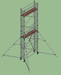 Aлюминиевая башня Layher Uni, узкая, 0.75м x 2.85м x H=8.2м (платформа)