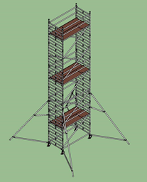 Aлюминиевая башня Layher Uni, широкая, 1.45мx2.5м x H=10.2м (платформа)