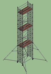 Aлюминиевая башня Layher Uni, широкая, 1.45мx2.5м x H=12.2м (платформа)