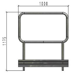 TLC platfomas dubulto margu panelis ar bortu, L=1.0m, H=1.1m