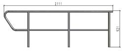 TLC augšējais dubulto margu panelis kāpnēm, L=2.711m