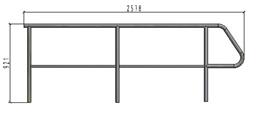 TLC apakšējais dubulto margu panelis kāpnēm, L=2.578m