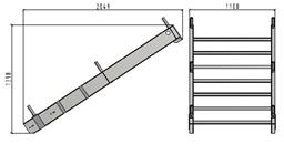 TLC platformas kāpņu laida apakšējā daļa, 1.1 x 2.48m