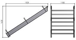 TLC platformas kāpņu laida augšējā daļa, 1.1 x 2.42m