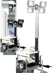 Apgaismes masta prožektors ar ģeneratoru,  4X1000W, 8m